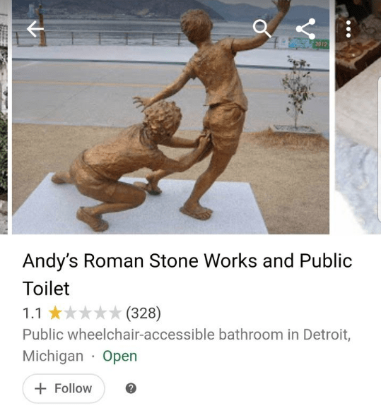 Sculpture - Andy's Roman Stone Works and Public Toilet (328) 1.1 Public wheelchair-accessible bathroom in Detroit, Michigan Open Follow