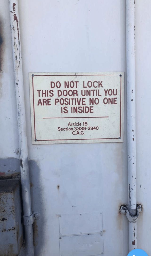 Text - DO NOT LOCK THIS DOOR UNTIL YOU ARE POSITIVE NO ONE IS INSIDE Article 15 Section 3339-3340 C.A.C