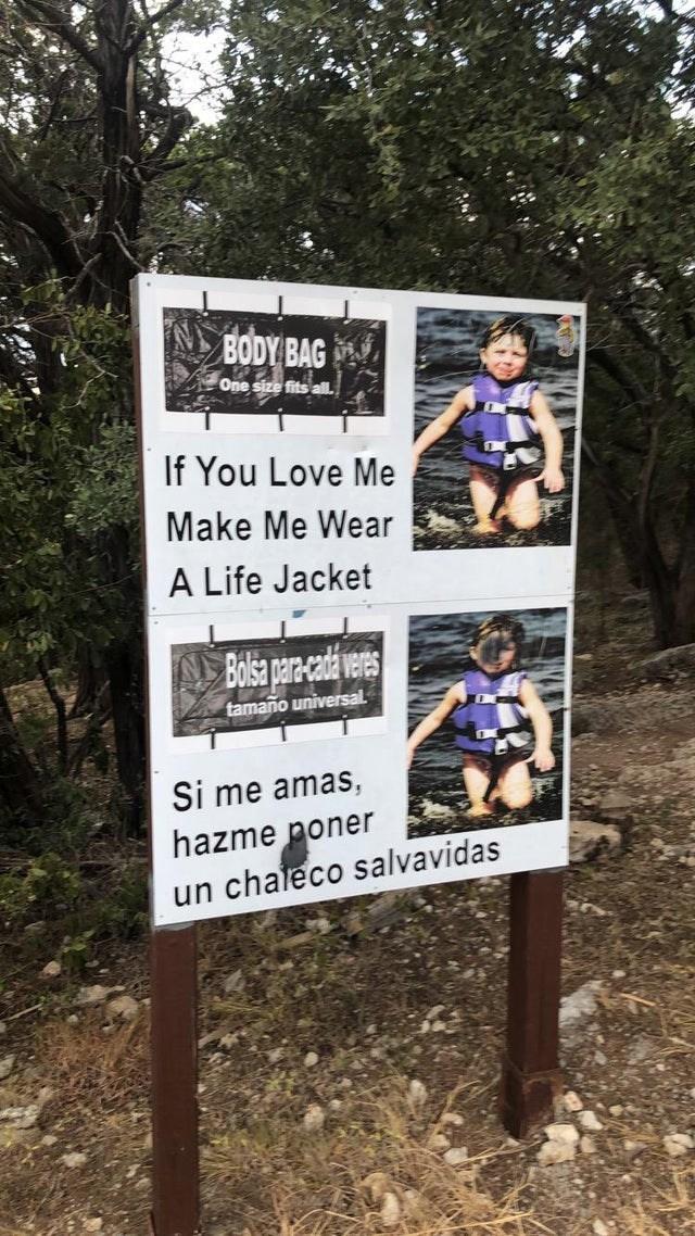 Nature reserve - BODY BAG One size fits all. If You Love Me Make Me Wear A Life Jacket ABolsa pare-cadaveres tamano universal. Si me amas, hazme poner un chaleco salvavidas