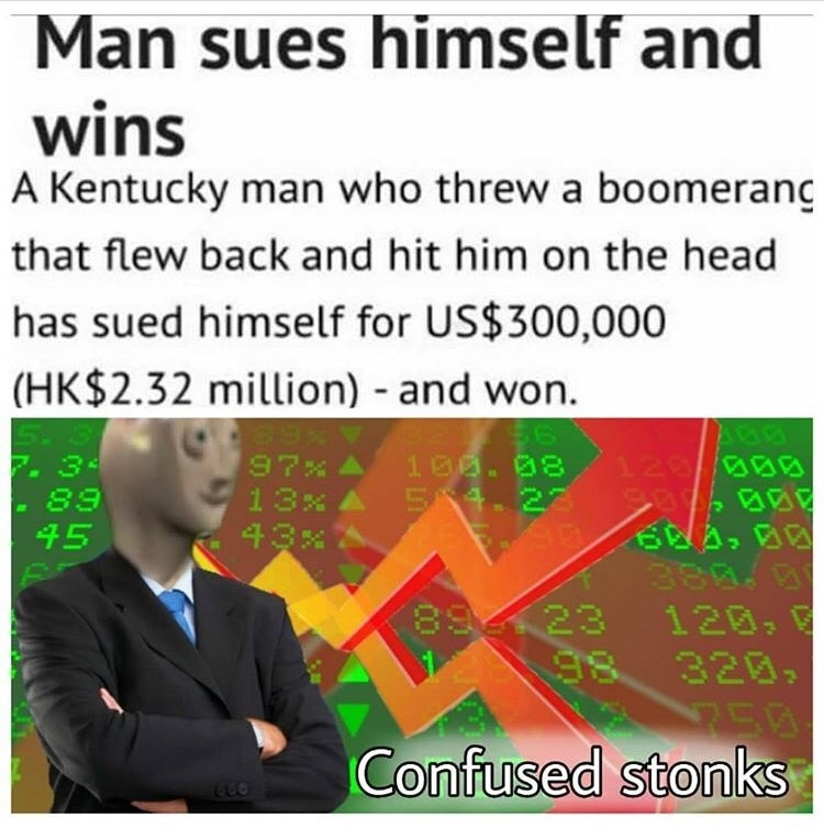 Text - Man sues himself and wins A Kentucky man who threw a boomerang that flew back and hit him on the head has sued himself for US$300,000 (HK$2.32 million) and won. 97x 13x 34 166.88 S 4.22 128 38 89 43x 45 894423 120, 98 320 EQ Confused stonks 939