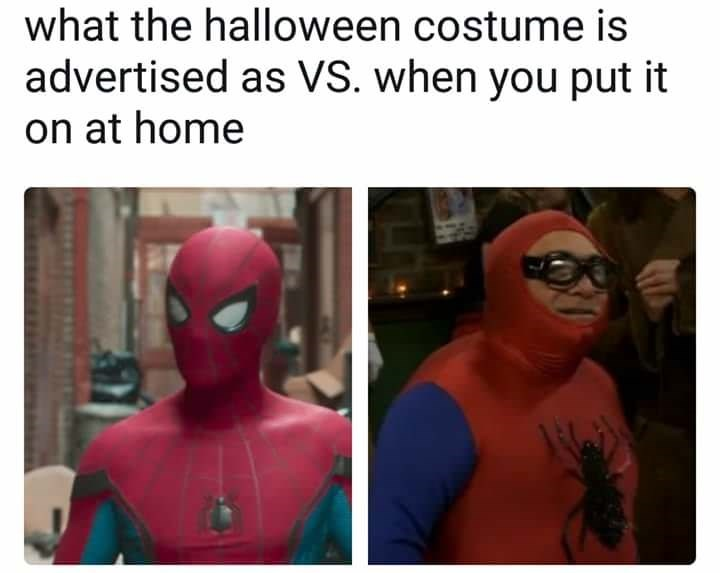 Superhero - what the halloween costume is advertised as VS. when you put it on at home