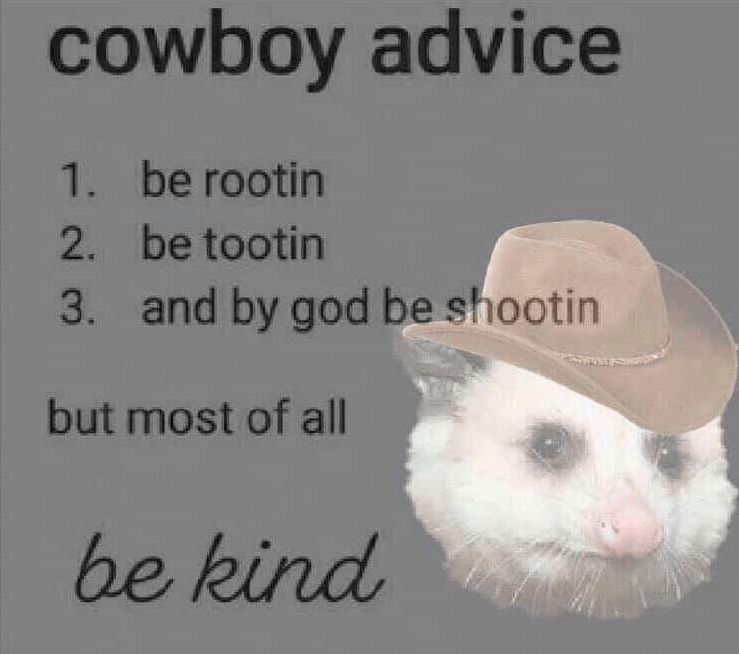 Text - cowboy advice 1. be rootin 2. be tootin and by god be shootin 3. but most of all be kind