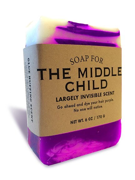 Violet - SOAP FOR THE MIDDLE CHILD LARGELY INVISIBLE SCENT Go ahead and dye your hair purple. No one will notice. NET WT.6 OZ/170 G GLUE G