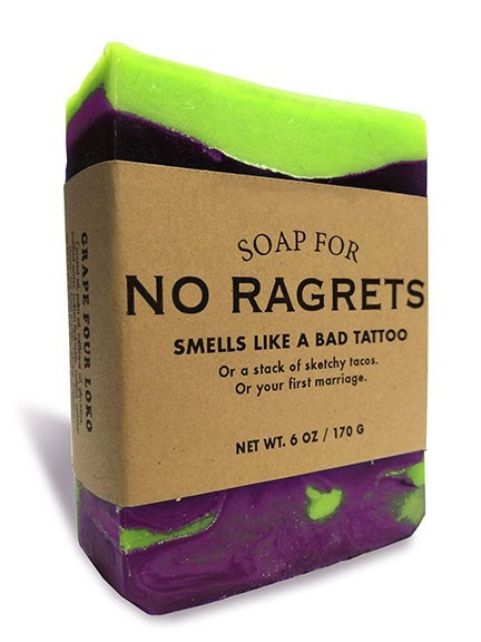 Violet - SOAP FOR NO RAGRETS SMELLS LIKE A BAD TATTOO Or a stack of sketchy tacos. Or your first marriage. NET WT. 6 0Z/170 G GRAPE FO UR LOKO