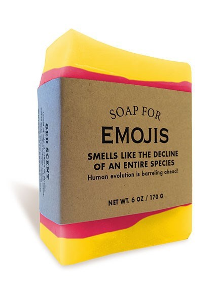 Yellow - SOAP FOR ЕMOJIS SMELLS LIKE THE DECLINE OF AN ENTIRE SPECIES Human evolution is barreling ahead! NET WT.6 OZ/170 G GICD sCC NT