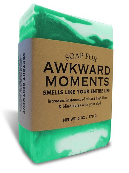 Green - SOAP FOR AWKWARD MOMENTS SMELLS LIKE YOUR ENTIRE LIFE Increases instances of missed high-fives &blind dates with your dad NET WT.6 OZ/170 G SKET CH t a NT MENT