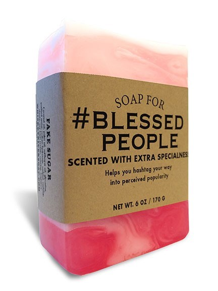 Pink - SOAP FOR #BLESSED PEOPLE SCENTED WITH EXTRA SPECIALNES Helps you hashtag your way into perceived popularity NET WT.6 OZ/170 G FAKE SUGAR A eR