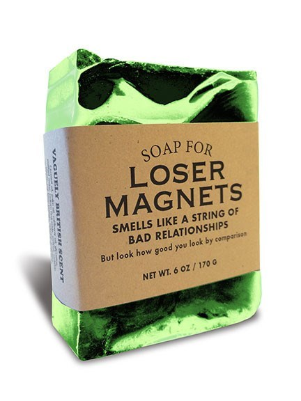 Superfood - SOAP FOR LOSER MAGNETS SMELLS LIKEA STRING OF BAD RELATIONSHIPS But look how good you look by comparisan NET WT. 6 OZ/ 170 G VAOr rBRITSH SCCNT