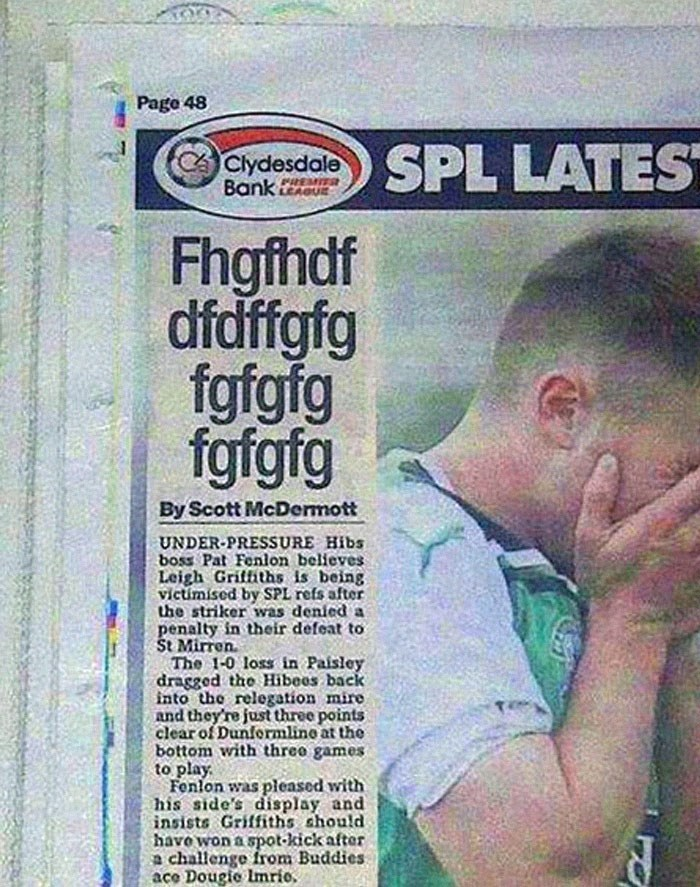Text - Page 48 SPL LATES Clydesdale Bank PHEMITS Fhgfhdf dfdffgfg fgfgfg fgfgfg By Scott McDermott UNDER-PRESSSURE Hibs boss Pat Fenlon believes Leigh Griffiths is being victimised by SPL refs after the striker was denied a penalty in their defeat to St Mirren The 1-0 loss in Paisley dragged the Hibees back into the relegation mire and they're just three points clear of Dunformlino at the bottom with three games to play Fenlon was pleased with his side's display and insists Griffiths should have