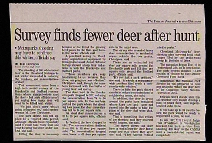 Text - The P C Survey finds fewer deer after hunt Metroperks shootin ay buve to ccntine hls wirter, officials sa Inte he art The aurvey a a he der anirsti n al d de the t p4r Clednd Mtrark der isa saat D Natt las cryel l th ye T Dt Md Aeral s There are an ntinutel n DNG The sdng f e e laled E Crvitnl Me wer aw in in De inrs Ant tr daet 11 APd the int PUnders a ert ntm ndy nnty m thal wed l ht ac tte Service l predt f er De park drv1 Ca e Ty Natial erdin AnA MIt th te v l wth he lirtof w. e a Ngh