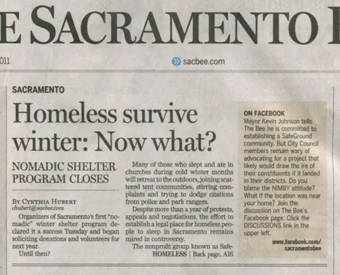 Text - E SACRAMENTO 011 sacbee.com SACRAMENTO Homeless survive winter: Now what? ON FACEBOOK Mayor Kevin Johnson tells The Bee he is committed to establishing a SafeGround community. But City Council members remain wary of advocating for a project that likely would draw the ire of their constituents if it landed in their districts. Do you blame the NIMBY attitude? What if the location was near your home? Join the discussion on The Bee's Facebook page. Click the DISCUSSIONS link in the upper left