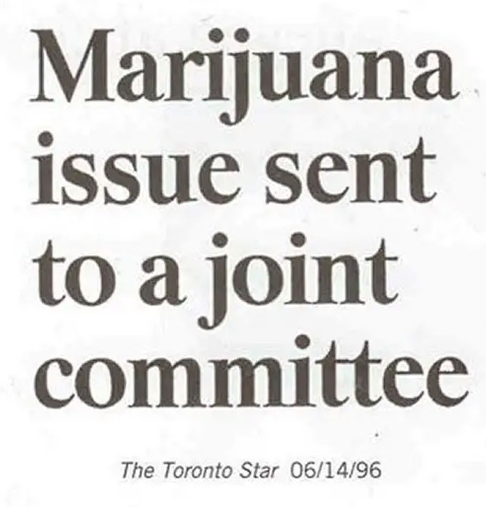 Text - Marijuana issue sent to a joint committee The Toronto Star 06/14/96