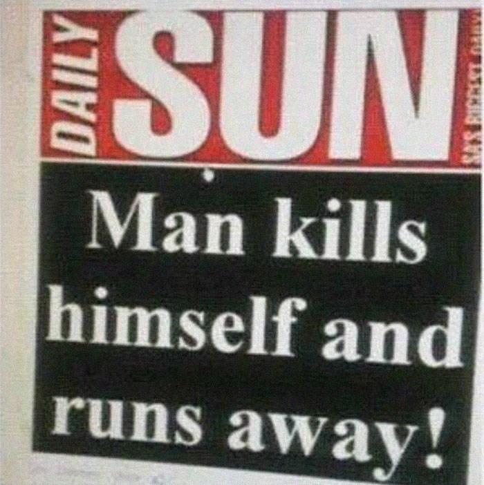 Text - SUN Man kills himself and runs away!