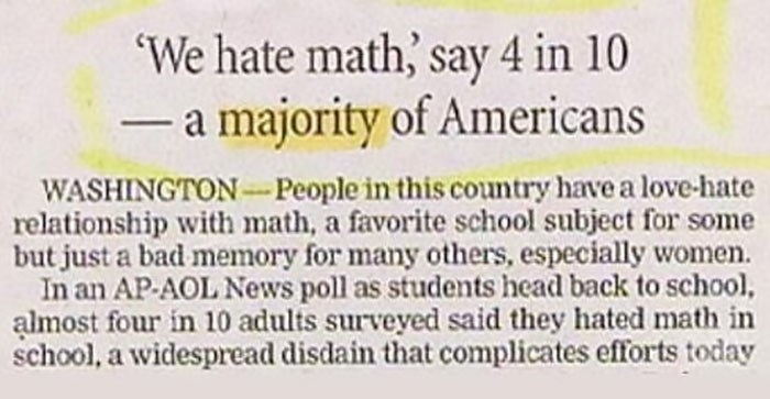 Text - We hate math, say 4 in 10 - a majority of Americans WASHINGTON-People in this country have a love-hate relationship with math, a favorite school subject for some but just a bad memory for many others, especially women. In an AP-AOL News poll as students head back to school, almost four in 10 adults surveyed said they hated math in school, a widespread disdain that complicates efforts today
