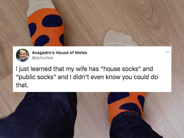 """Text - Avogadro's House of Moles @schumoo just learned that my wife has """"house socks"""" and """"public socks"""" and I didn't even know you could do that"""