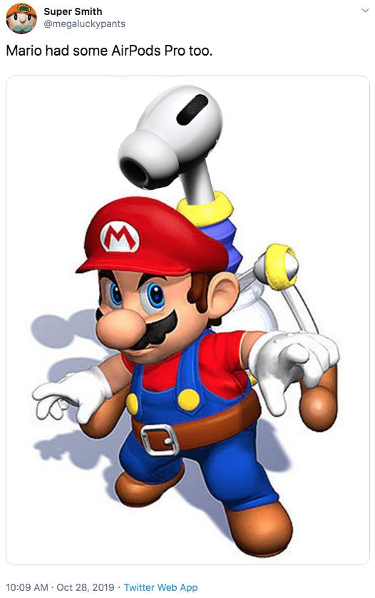 Cartoon - Super Smith @megaluckypants Mario had some AirPods Pro too. 10:09 AM Oct 28, 2019 Twitter Web App