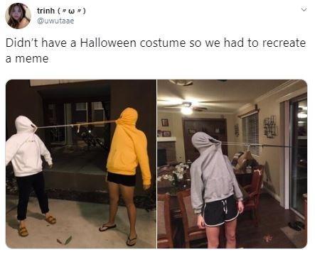 Snapshot - trinh (w @uwutaae Didn't have a Halloween costume so we had to recreate a meme