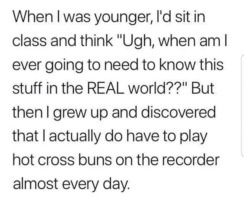 """Text - When I was younger, l'd sit in class and think """"Ugh, when am l ever going to need to know this stuff in the REAL world??"""" But then I grew up and discovered that I actually do have to play hot cross buns on the recorder almost every day."""