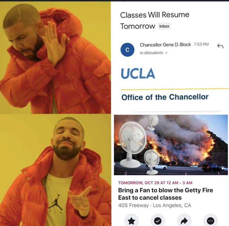 Organism - Classes Will Resume Tomorrow Inbox Chancellor Gene D. Block 7:53 PM to allstudents UCLA Office of the Chancellor TOMORROW, OCT 29 AT 12 AM-3 AM Bring a Fan to blow the Getty Fire East to cancel classes 405 Freeway Los Angeles, CA