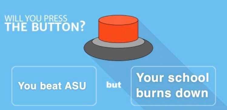 Product - WILL YOU PRESS THE BUTTON? Your school but You beat ASU burns down
