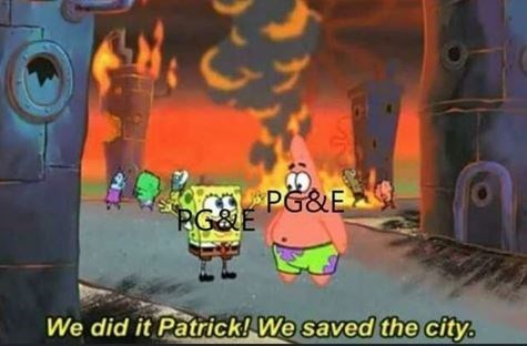 Cartoon - PG&E PG&E We did it Patrick! We saved the city. 2