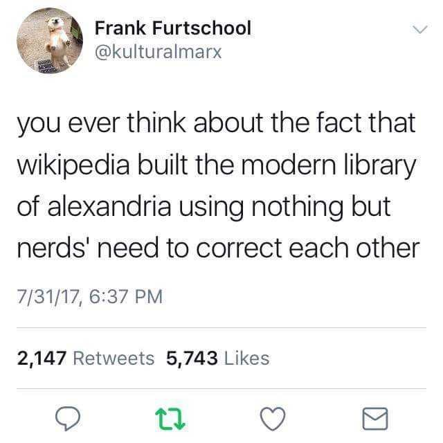 Person - Text - Frank Furtschool @kulturalmarx you ever think about the fact that wikipedia built the modern library of alexandria using nothing but nerds' need to correct each other 7/31/17, 6:37 PM 2,147 Retweets 5,743 Likes