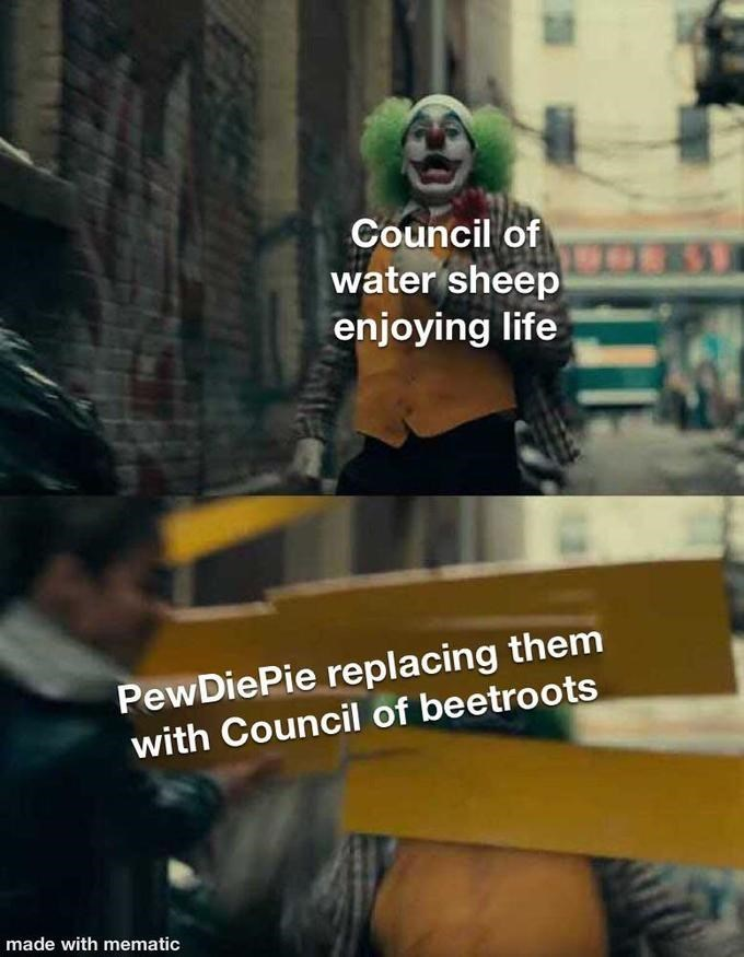 Photo caption - Council of water sheep 331 enjoying life PewDiePie replacing them with Council of beetroots made with mematic