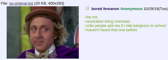 Face - File: so-original.jpg (20 KB, 400x293) bored femanon Anonymous 10/29/19 (Tue) be me australian living overseas >mfw people ask me if i ride kangroos to school haven't heard that one before
