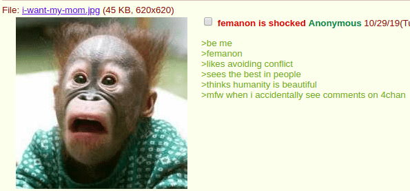 Face - File: i-want-my-mom.jpg (45 KB, 620x620) femanon is shocked Anonymous 10/29/19(Tu >be me >femanon >likes avoiding conflict sees the best in people >thinks humanity is beautiful mfw when i accidentally see comments on 4chan