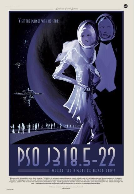 nasa sci fi poster for pso j318.5-22 exoplanet
