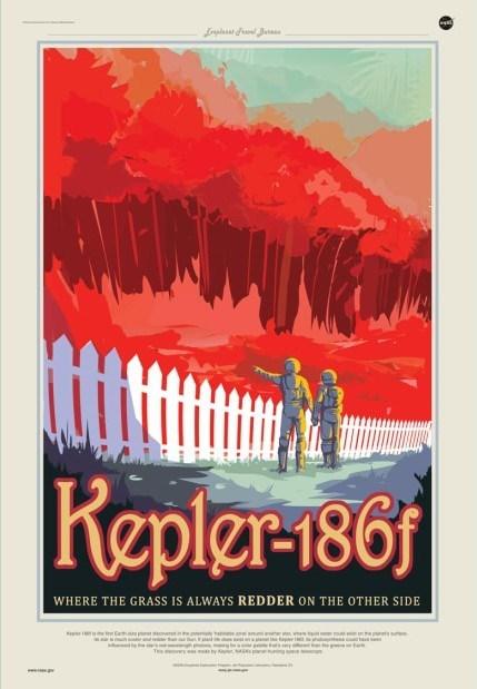 nasa mock up sci fi poster for kepler-186f exoplanet