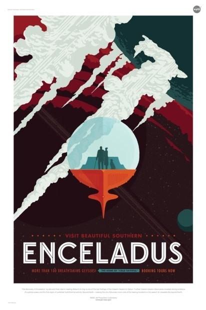 nasa sci fi poster for exoplanet travel enceladus