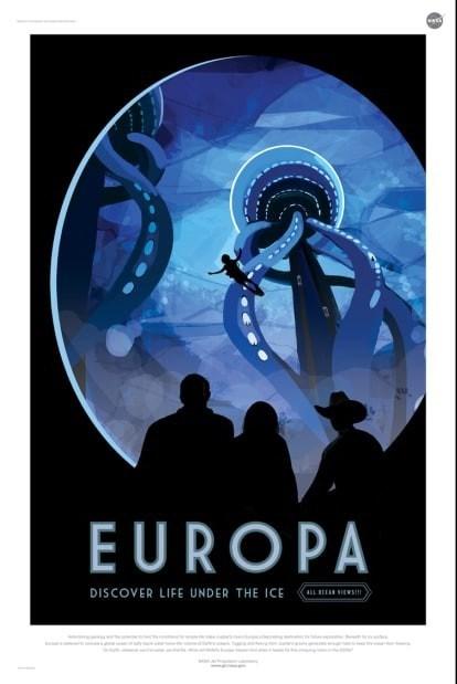 nasa mock horror sci fi poster for exoplanet europa