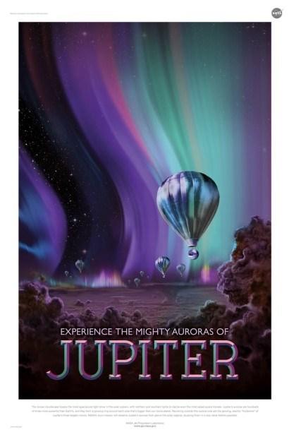 nasa poster for travel other planets jupiter auroras