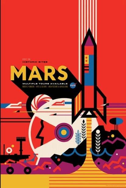 nasa modern mock sci fi poster for mars travel