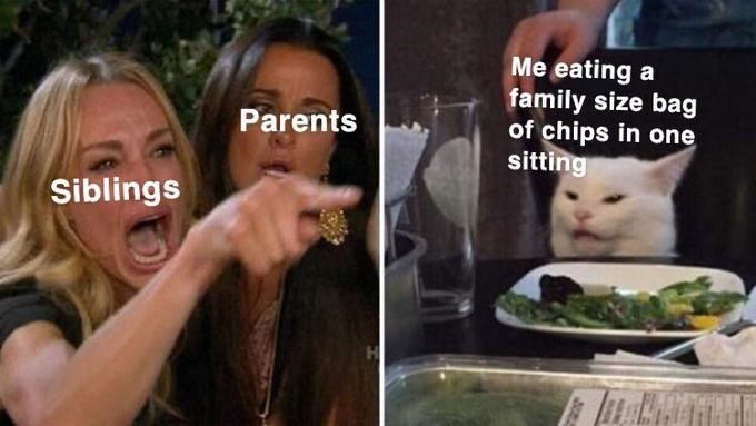 Cat - Me eating a family size bag of chips in one sitting Parents Siblings