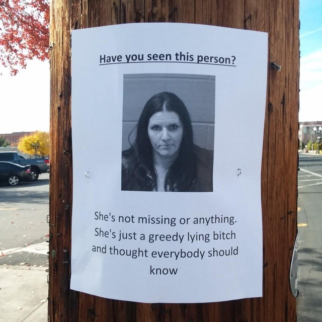 Text - Have you seen this person? She's not missing or anything. She's just a greedy lying bitch and thought everybody should know