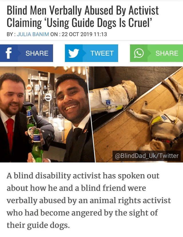 """Transport - Blind Men Verbally Abused By Activist Claiming 'Using Guide Dogs Is Cruel"""" BY JULIA BANIM ON: 22 OCT 2019 11:13 SHARE SHARE TWEET PER @BlindDad_Uk/Twitter A blind disability activist has spoken out about how he and a blind friend were verbally abused by an animal rights activist who had become angered by the sight of their guide dogs."""
