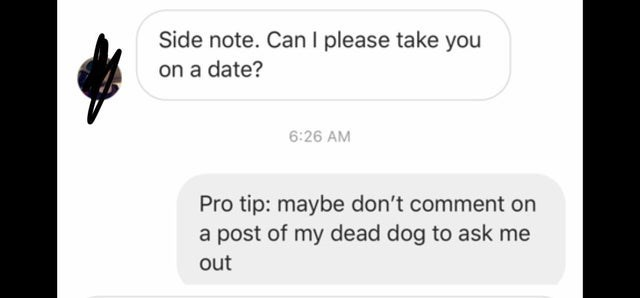 Text - Side note. Can I please take you on a date? 6:26 AM Pro tip: maybe don't comment on a post of my dead dog to ask me out