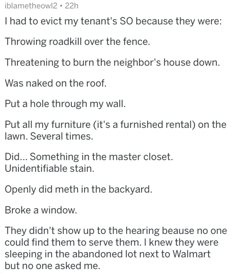 Text - iblametheowl2 22h I had to evict my tenant's SO because they were: Throwing roadkill over the fence. Threatening to burn the neighbor's house down. Was naked on the roof. Put a hole through my wall. Put all my furniture (it's a furnished rental) on the lawn. Several times. Did... Something in the master closet. Unidentifiable stain Openly did meth in the backyard. Broke a window. They didn't show up to the hearing beause no one could find them to serve them. I knew they were sleeping in t