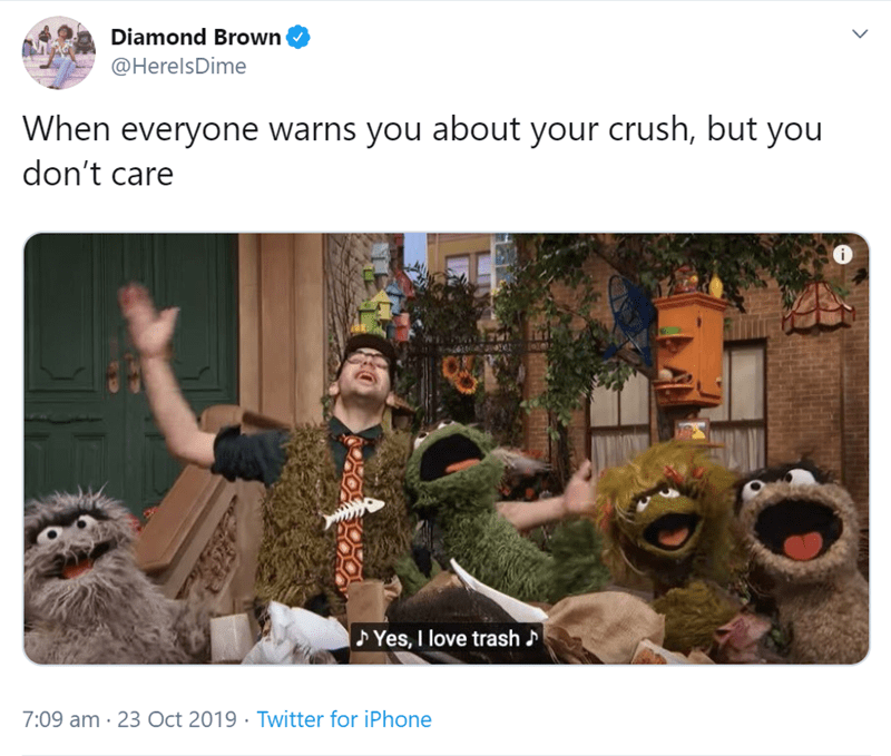 Adaptation - Diamond Brown @HerelsDime When everyone warns you about your crush, but you don't care Yes, I love trash 7:09 am 23 Oct 2019 Twitter for iPhone