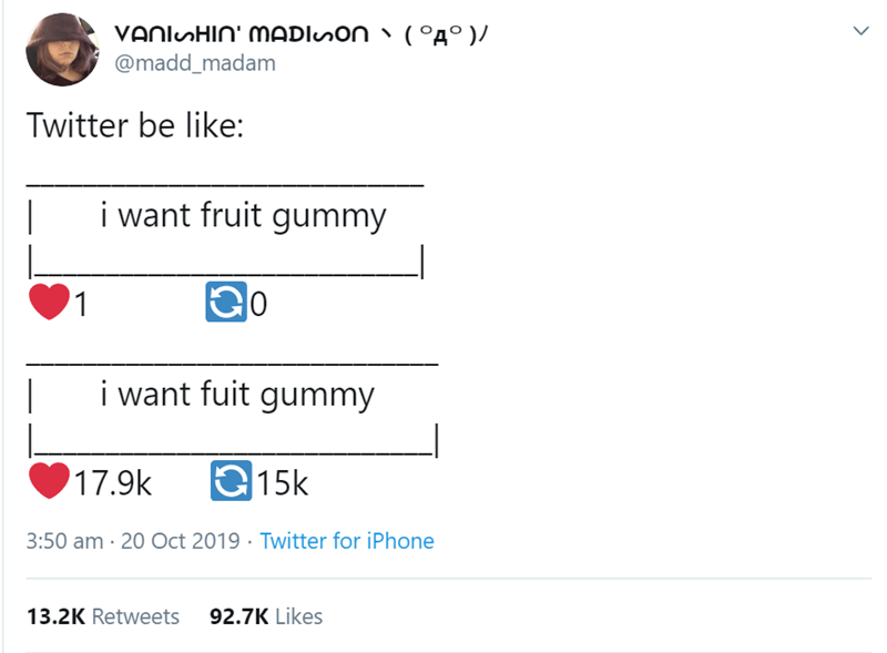 Text - VAnlHIn' MADISON @madd_madam (°A° )/ Twitter be like: i want fruit gummy C o 1 i want fuit gummy 17.9k |15k 3:50 am 20 Oct 2019 Twitter for iPhone 92.7K Likes 13.2K Retweets