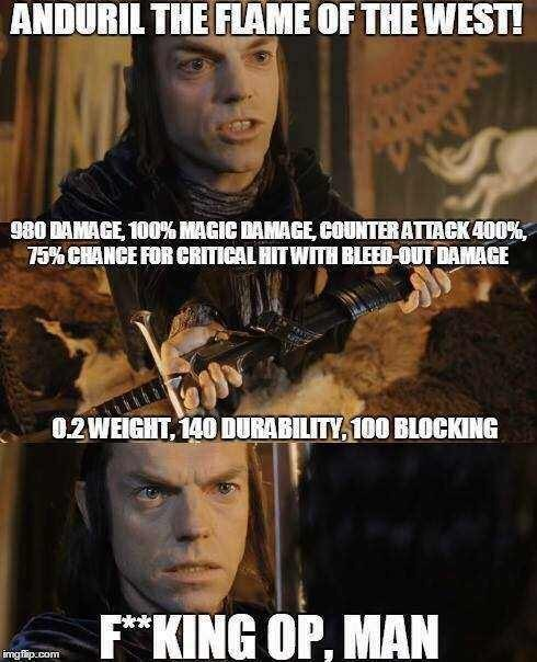 Movie - ANDURIL THE FLAME OF THE WEST! 980 DAMAGE 100% MAGIC DAMAGE COUNTER ATIACK 400% 15% CHANCE FOR CRITICAL HIT WITH BLEED-OUT DAMAGE 0.2WEIGHT, 140 DURABILITY 100 BLOCKING F*KING OP, MAN imgfap.com