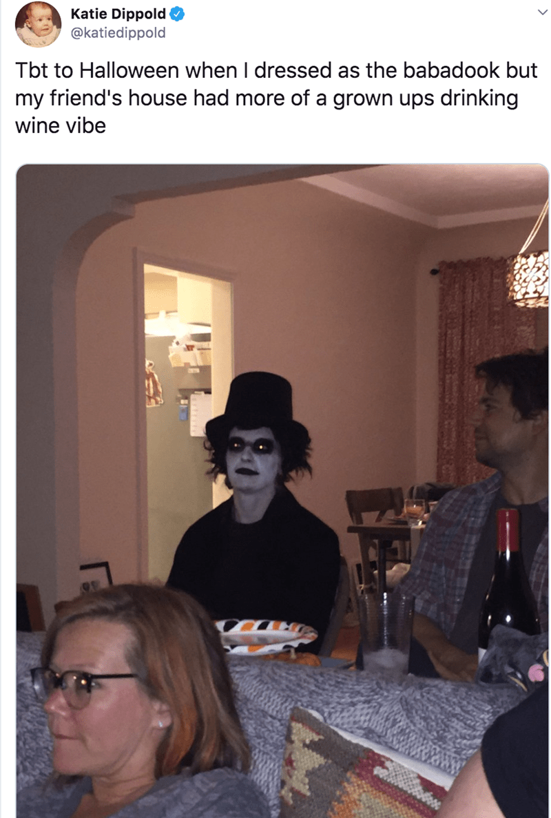 Room - Katie Dippold @katiedippold Tbt to Halloween when I dressed as the babadook but my friend's house had more of a grown ups drinking wine vibe
