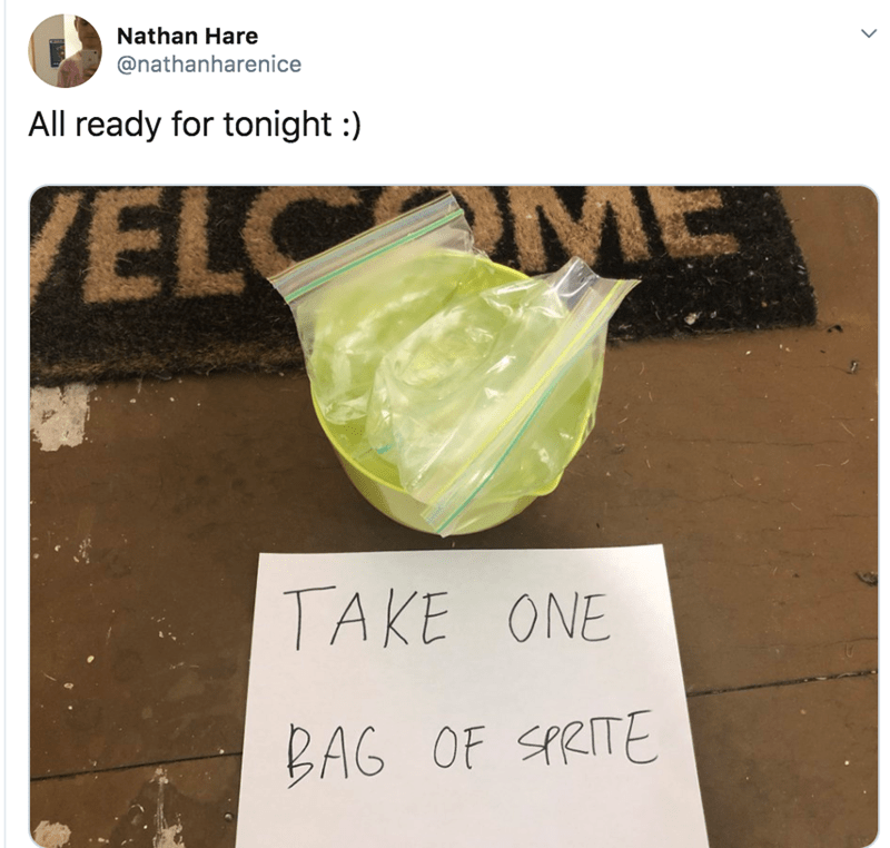 Font - Nathan Hare @nathanharenice All ready for tonight ) ELC E TAKE ONE BAG OF SPRITE
