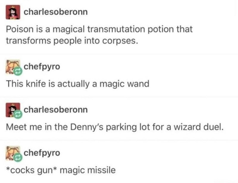 Text - charlesoberonn Poison is a magical transmutation potion that transforms people into corpses. chefpyro This knife is actually a magic wand charlesoberonn Meet me in the Denny's parking lot for a wizard duel. chefpyro cocks gun* magic missile