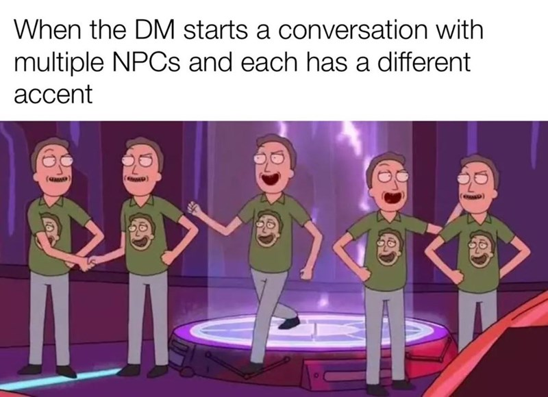Animated cartoon - When the DM starts a conversation with multiple NPCS and each has a different асcent op) eap)