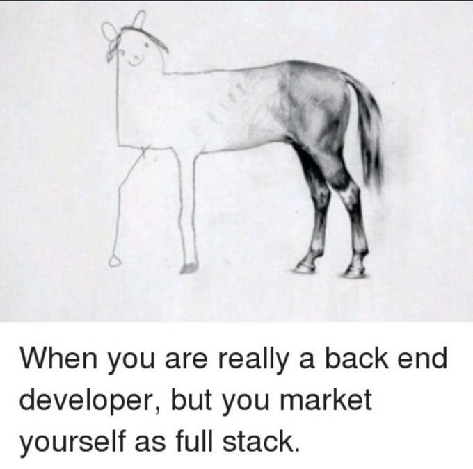 Text - When you are really a back end developer, but you market yourself as full stack.