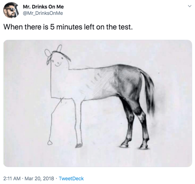 Drawing - Mr. Drinks On Me @Mr DrinksOnMe When there is 5 minutes left on the test. 2:11 AM Mar 20, 2018 TweetDeck