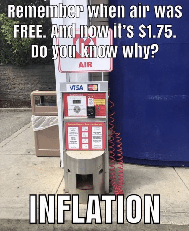 Machine - Remember when air was FREE. And now it's $1.75 DO you know why? AIR VISA Instructions/Instrucciones INFLATION